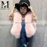 2016 European Winter New Girls Light Blue Cute Plush Real Fox Fur Kids Fur Vest