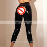 Sexy Women Latex leggings Rubber Trousers Bottoms Open Hole back Sexy Dress