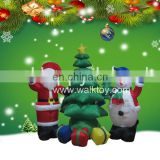 HI large inflatable outdoor christmas classical combination decorations Santa Claus with Snowman and Tree