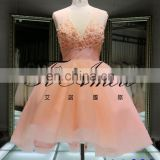 Pink Lovely Short Dress 2016 Flowers and Pearl Beading Tulle Evening Dress V Neck Lace up Mini Dress 1A922