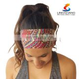 Factory In Stock Colorful sports elastic yoga Women Chiffon hair band