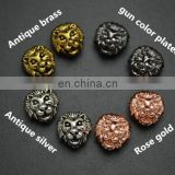 Professional manufacture Zinc alloy animal heads shaped metal beads lion head metal bead for beads bracelet and necklace