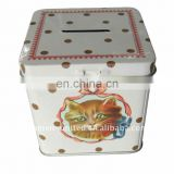square tin coin box with lock