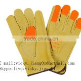 pig split leather driver gloves with orange leather in fingers