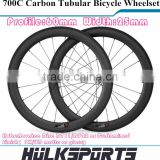 Carbon Road Bike 700C 60mm Profile 25mm Width Tubular Disc Carbon Wheels Bicycle Parts                                                                                                         Supplier's Choice