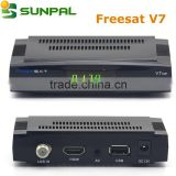 Hot selling in Spain Original Freesat V7 HD mini satellite tv receiver with DVB-S2 tuner by WiFi 3G
