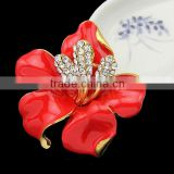 New Enamel Brooch Rhinestone Crystal Lily Flower Brooches for Women