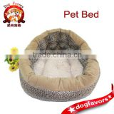 Fashion Warm Pet Bed, Fleece Pad and Leopard Fabric Dog Sleeping Bed