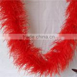Beautiful Red 6 Ply Curly Ostrich Feather Soft Boas For Wedding Clothing Dress Decorations