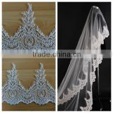 2015 new design wholesale embroidery bridal veil lace trim