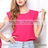2015 New Summer Dress Size Chiffon shirt T-shirt short sleeve shirt sleeve loose solid Feifeit shirt women
