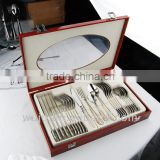 24 pcs wood case pack SS flatware set