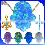 China Cabochon Cut Wholesale Price Synthetic Stone Opal Hamsa Pendant Necklace                                                                         Quality Choice