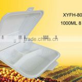 biodegradable disposable take away 8 inch rectangular container with attached lid