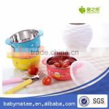 Babymatee Eco-friendly baby feeding dish plastic muilt meal plate with spoon set for litter baby