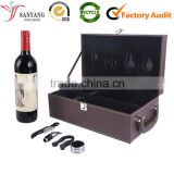 Leather wine bottle glass packaging shipping box case with accessaries                                                                                                         Supplier's Choice