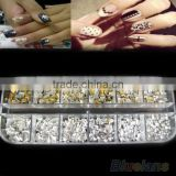 2015 hot selling 12 gird rectangle rivet nail art decoration small box