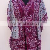 New warli arted printed polyester summer beaches dress & ponchos for womans