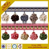 Tassel fringe rayon material acrylic crystal bead multicolor pompom fringe decorative trim for curtain                                                                         Quality Choice