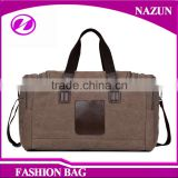 2016 outdoor Oversized Canvas Leather Trim Travel Tote Duffel shoulder handbag Weekend Bag