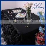 CL010M Wholesale custom made cheap black ruffled curly willow table cloth table cloth