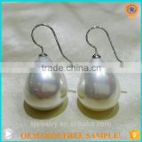 direct factory sale!simple design 16*21MM tear drop s925 silver south sea shell pearl earrings