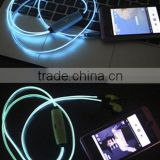 Fashion visible flow led light EL earphone for mobile phone, cheap EL light headset earbud