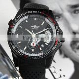 Factory Price Mens Black Automatic Mechanical Day Date Analog Men's Sport Rubber Silicone Watches