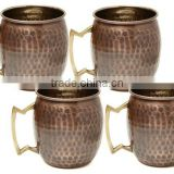 Antique Copper Mugs for Vodka, Moscow Mule drink Copper Mugs, Hammered Copper Mugs
