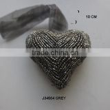 Grey Heart shaped Glass beads Christmas tree ornament in 10 cm available in all colours and sizes