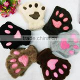 Warming animal cat paw plush gloves