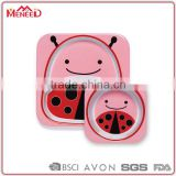 Eco biodegradable food safety cartoon bees printing pink square dubai kids buy bulk dinnerware sets