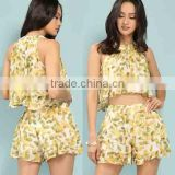 Ladies Aztec Print Crop Top Cheap Wholesale Lemon Print Chiffon Pleated Custom Printed Crop Tops