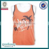 Customized fashionable printing cotton tank top wholesale bodybuilding stringer vest mens tank top, mens vest,mens singlet