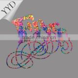 rainbow foil heat transfer motif for garment accessory