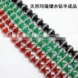High grade natural red and green agate crystal rhinstone stone strand paving crystal natural stone beads for diy jewelry
