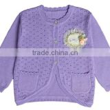 stylish white pink purple cotton knitted baby girls sweater cardigan