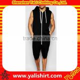 Wholesale top quality plain cotton/polyester sleeveless zip fastening loungewear mens onesie with hood