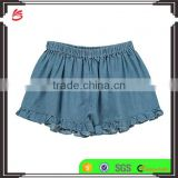 2017 hot sale soft denim Ruffle Shorts Denim blue wholesale girls custom ruffle icing pants