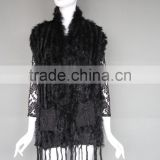 Rabbit Fur Knitted Vest With Pockets Black Fashion Women Gilet