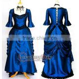 medieval gothic punk blue dress Ball Gown for female cosplay costume custom made