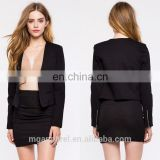 fashion new style ladies formal blazer long slim sleeve open front black women blazer jacket