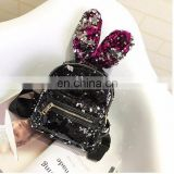 Fashion personality cool rabbit ears sequins backpack