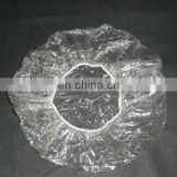 clear transparent PE shower cap for hotel using