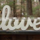 Custom made white painted wooden love sign decoration,antique wooden letter