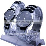 zinc alloy quartz movt couple watch, stainless steel back