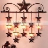 Rustic Barn Star Cheap Metal Crafts Wrought Iron Tea Light Wall Sconce