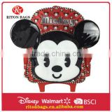 Cute Mickey Design School Bag Trolley Backpack With Wheels For Kids