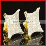 high quality iced out 925 sterling silver/brass 18k gold kite style cz earring factory china