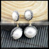 LFD-014E Gold Nature Pearl Round Dangle Earrings Pave Crystal Rhinestone Stud Earrings Jewelry Finding